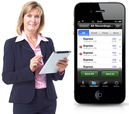 Business woman holding iPad and picture of iPhone running Philips Recorder