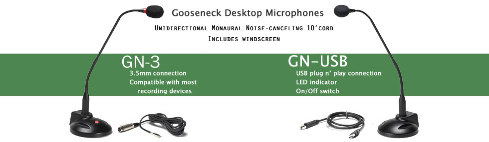 GN-3 and GN-USB gooseneck microphones