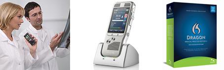 Image of medical professional dictating, a dmp8000 digital recorder, and Dragon Medical