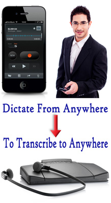 Mobile Phone and Man dictating with it then dictation sent to transciptionist symbolized by the footpedal image