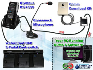 The Start-Stop Waterproof Dictation System Kit includes an Olympus DS-7000, Gooseneck Microphone, Waterproof DAC 3-Pedal Foot-switch, and our Exclusive COMM Download Kit.