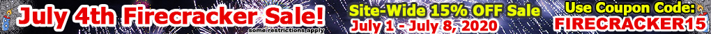 2020 Site Wide July 4th Sale. Coupon: FIRECRACKER15