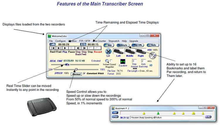 Main screen features, Displays loaded files, Time Remaining and Time Elapsed,  Bookmarking up to 16 spots per recording, Real  Time slider, and Speed Control.