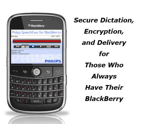 Secure Dictation Encryption and Delivery on the Blackberry with Philips LFH7455
