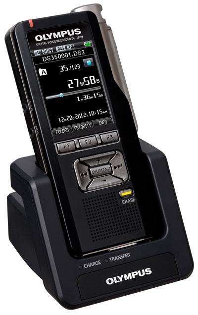 Olympus DS-3500 in cradle.