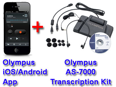Olympus Mobile Phone Dictation App + Olympus AS-7000 Transcription System