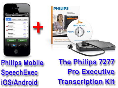 Philips Mobile Recorder and File Service for iPhone and Android + Olympus AS-7000 Transcription System Bundle