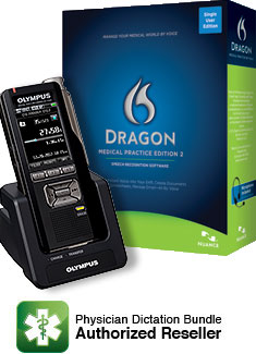 Dragon Medical Practice Edition 2 with Olympus DS-7000 Professional Digital Voice Recorder