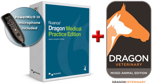 Picture of Dragon Medical Practice Edition 4 + PowerMic II + Dragon Veterinary Mixed Animal