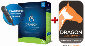 Picture of Dragon Medical Practice Edition 2 + PowerMic II + Dragon Veterinary Mixed Animal