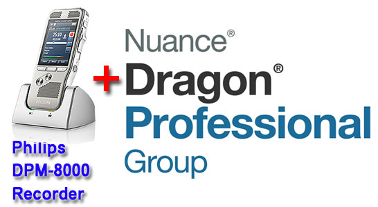 Professional Bundle: Philips DMP-8000 plus Dragon Professional Group 15