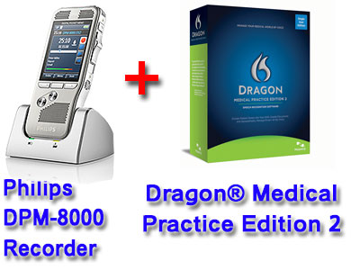 Professional Bundle: Philips DMP-8000 plus Dragon Medical Practice Edition 2