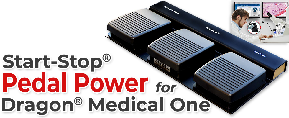 Go hands free on your computer with Start-Stop Pedal Power for Dragon Medical One.