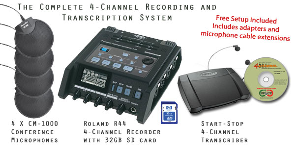 Start-Stop™ GoldenEar 4X Pro 4-Channel Conference Recording/Transcription System