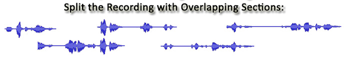 Start-Stop DTS Conference Recording & Transcription System's ability to split the Recording with Overlapping Sections