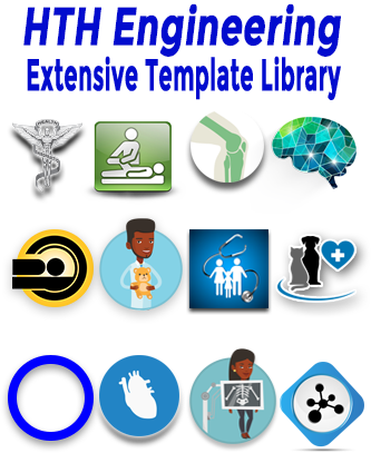 Icons showing the many templates for Dragon Medical that HTH Engineering has created and are exlcusive to HTH Engineering and StartStop.com