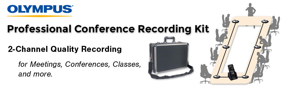 Professional Olympus Conference Recording Kit showing use case.