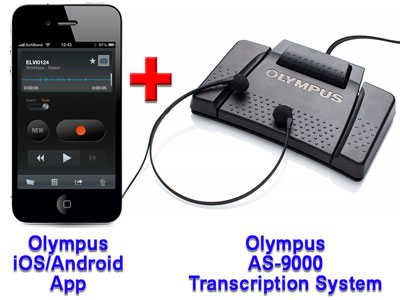Olympus Mobile Phone Dictation App + Olympus AS-9000 Transcription System