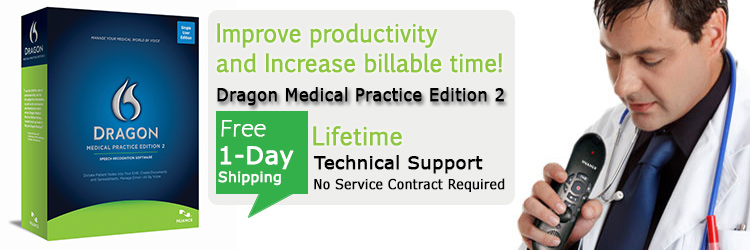Dragon Medical Practice Edition 2 Free 1 Day shipping and Lifetime Technical Support