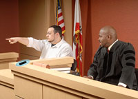 Courtroom scene with witness pointing into gallery next to judge.